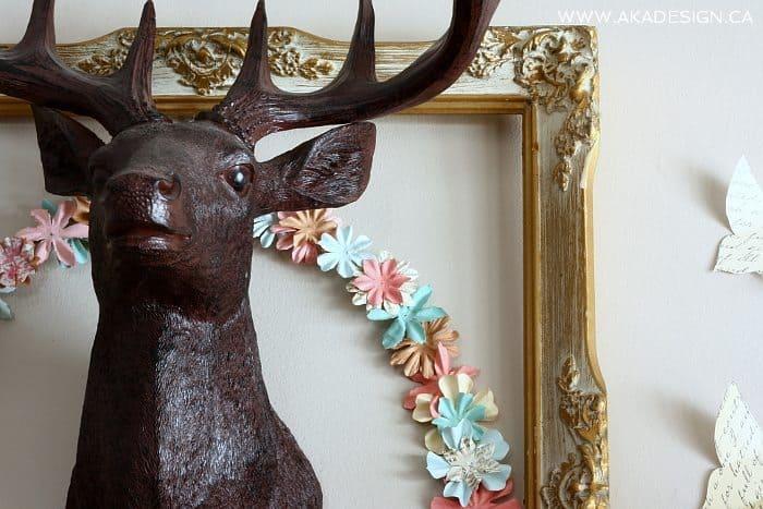 paper flower wreath close up