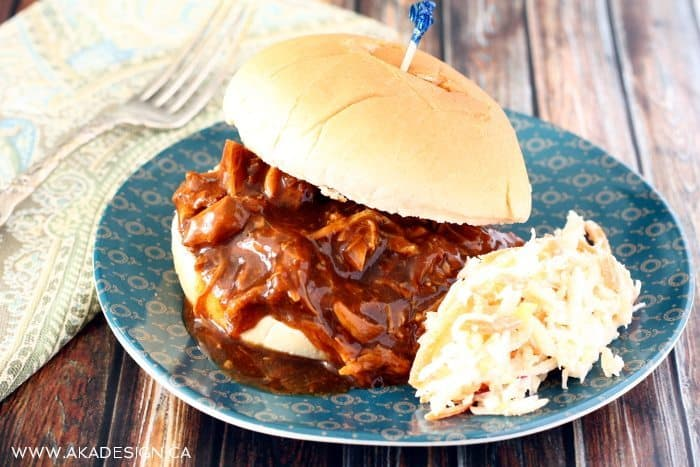 pulled chicken sandwich and coleslaw