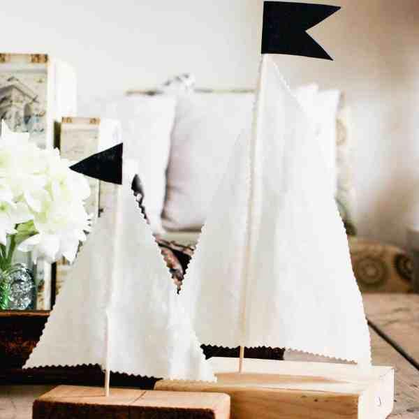 DIY wood sailboats as decor on coffee table