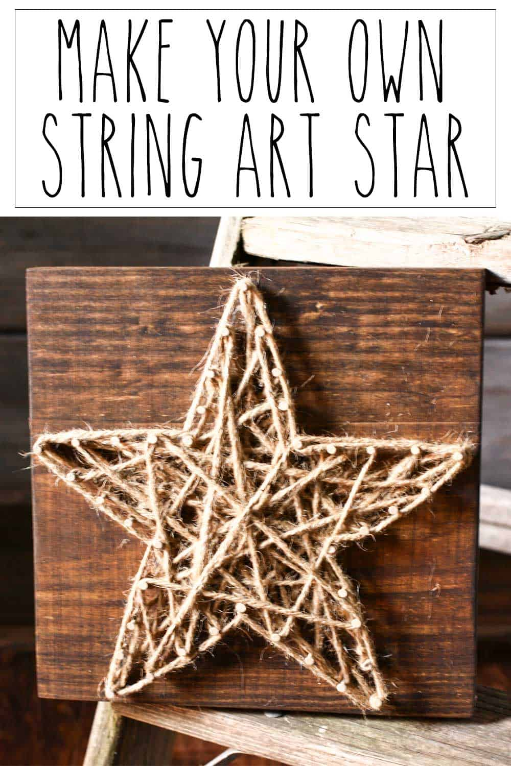 string art - jute and nails on wood to make a star