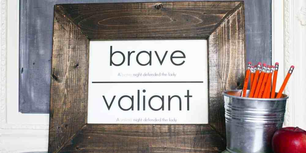 framed oversized flashcard, wood frame