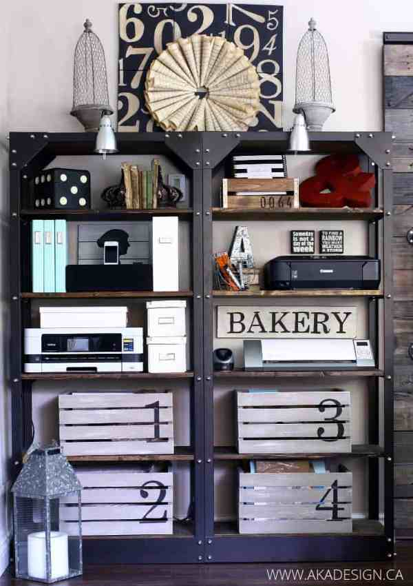 White Washed Numbered Crates | Shelf Organization in the Living Room