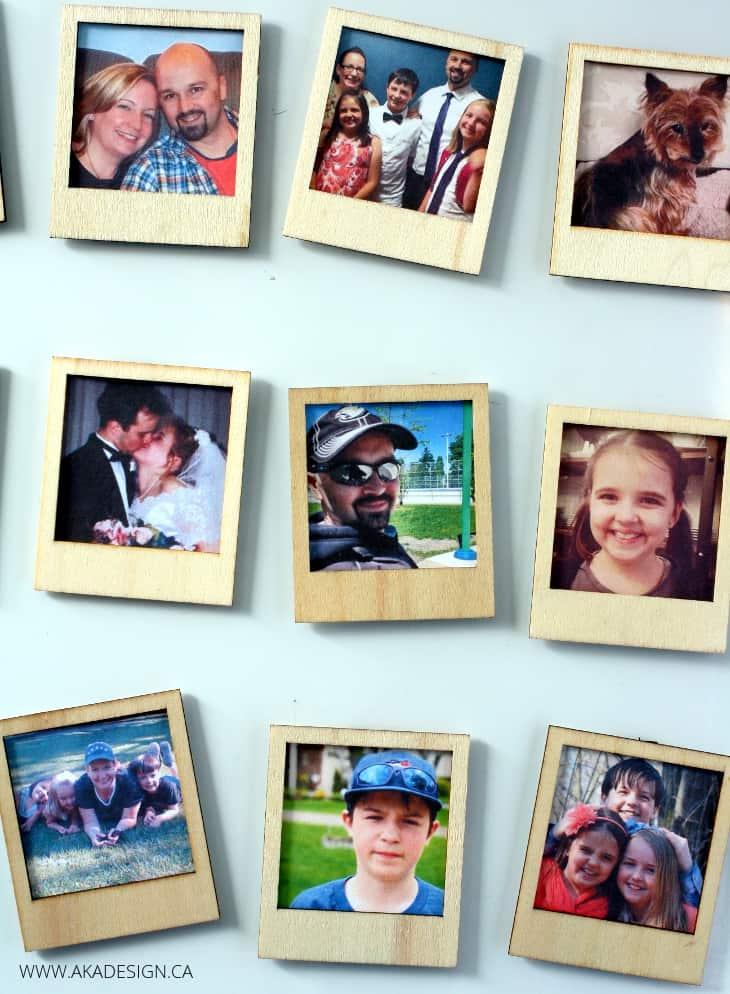 wood Polaroid photo magnets