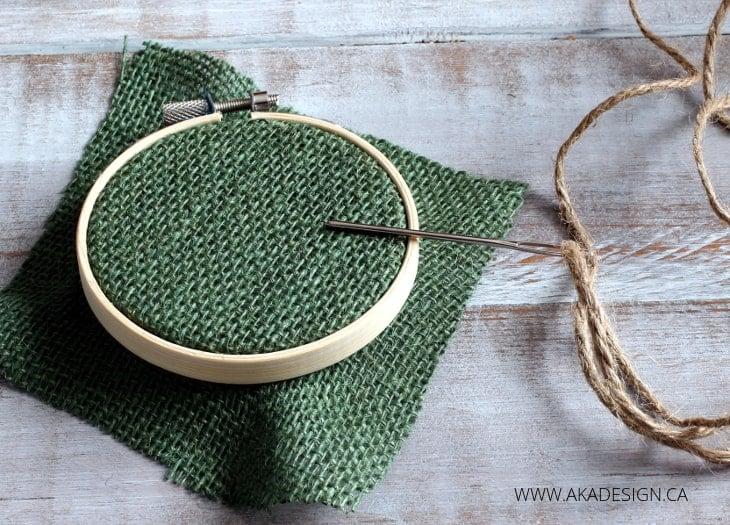 GREEN BURLAP HOOP ART