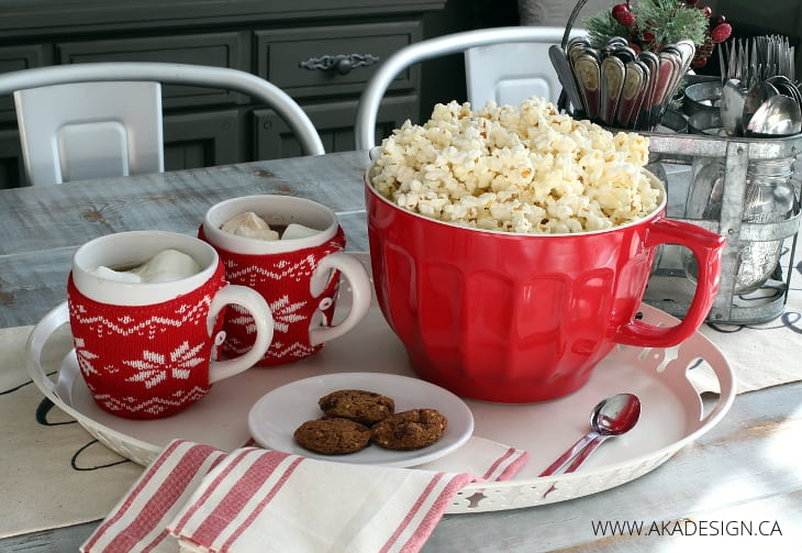 POPCORN AND HOT CHOCOLATE RED BOWL