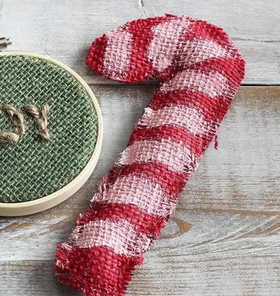 candy cane and joy burlap ornaments