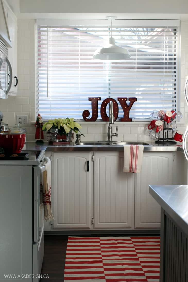 A VINTAGE STYLE RED AND WHITE CHRISTMAS KITCHEN