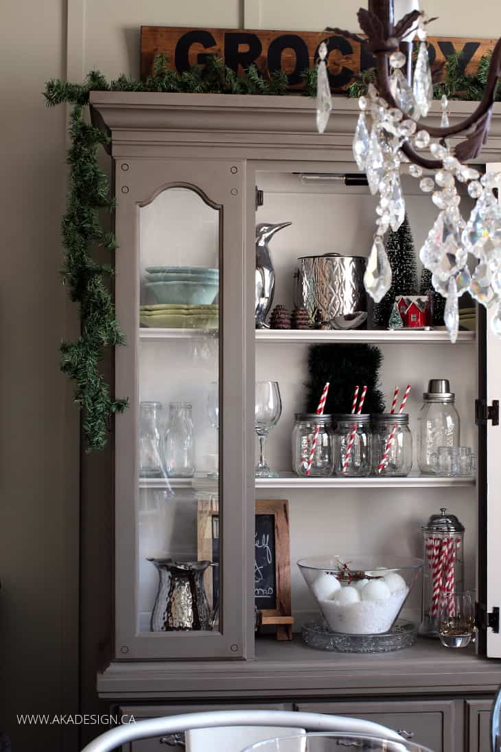 Home Made Lovely & Decorating a Dining Room Hutch for Christmas