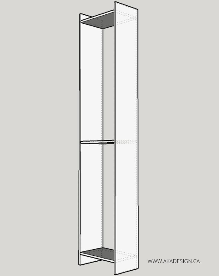 built in desk and shelves AFFIX THREE SHELVES