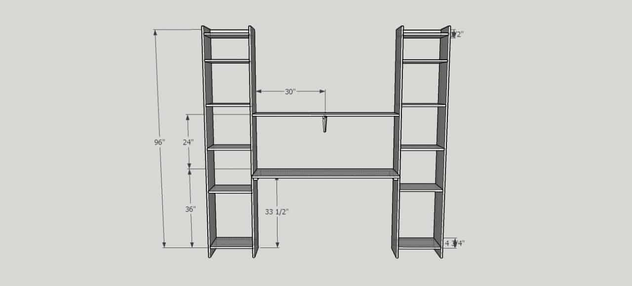 DIY Built In Desk and Shelves
