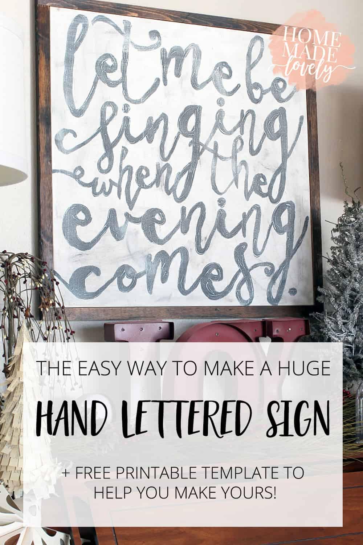 huge hand lettered sign diy pin