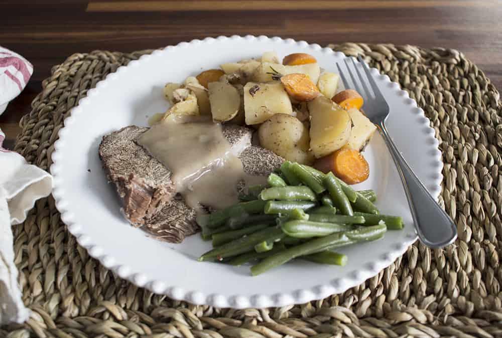 roast beef dinner on a plate