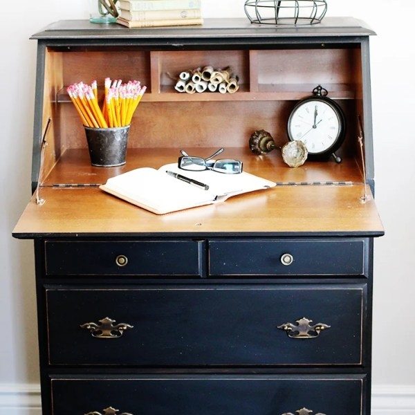 BLACK AND WOOD SECRETARY DESK