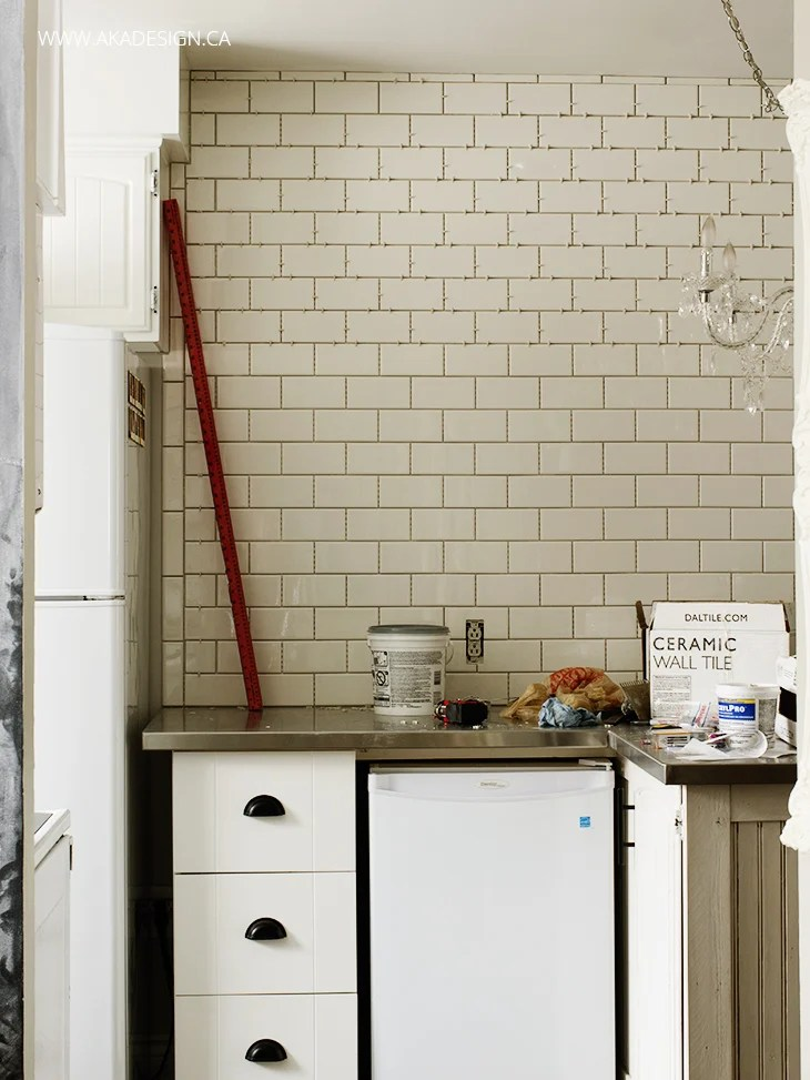 Subway Tile wall no grout
