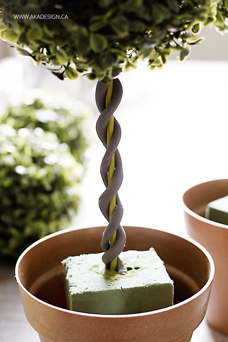 double vine on diy topiary trees