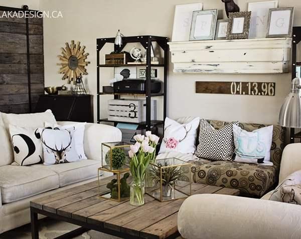 Spring Living Room rustic, flowers, wood, barn door   www.akadesign.ca