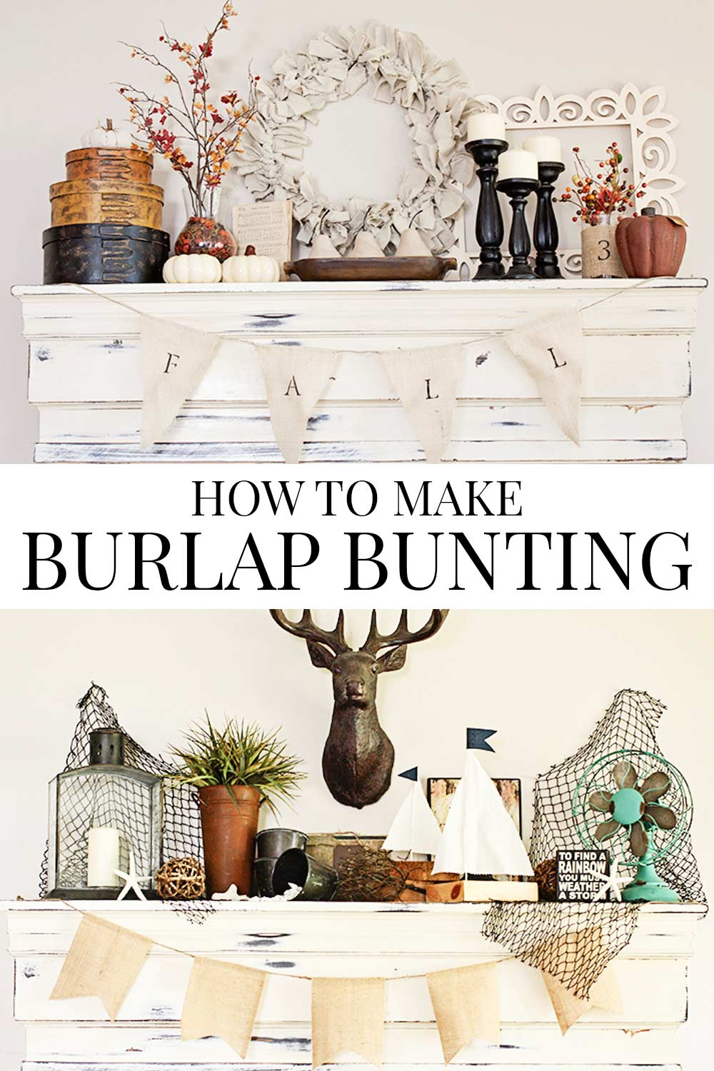 burlap bunting banners on faux mantel with decor