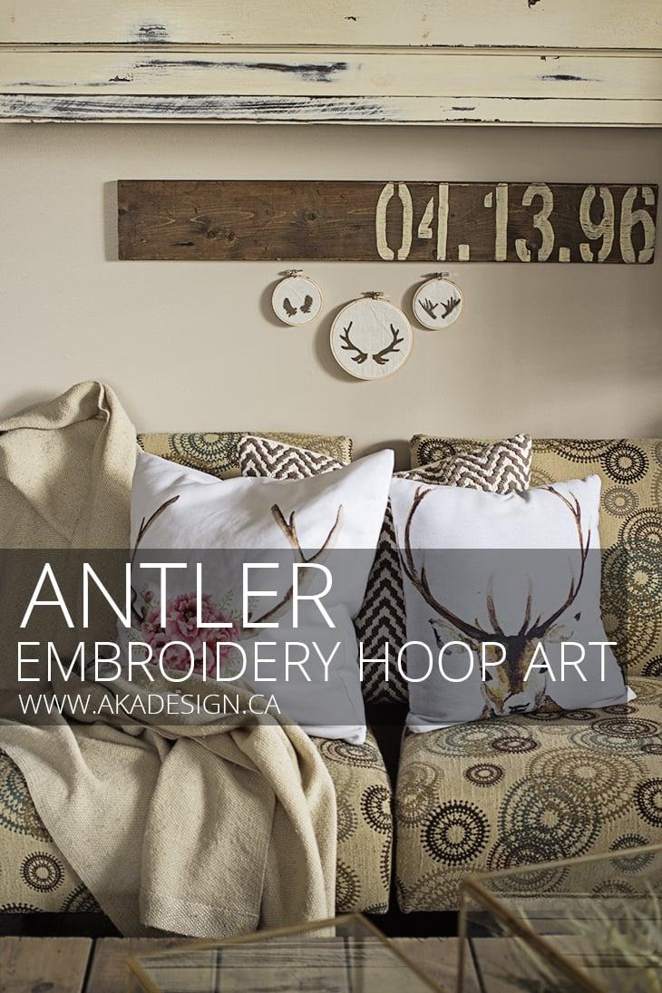 ANTLER EMBROIDERY HOOP ART pin