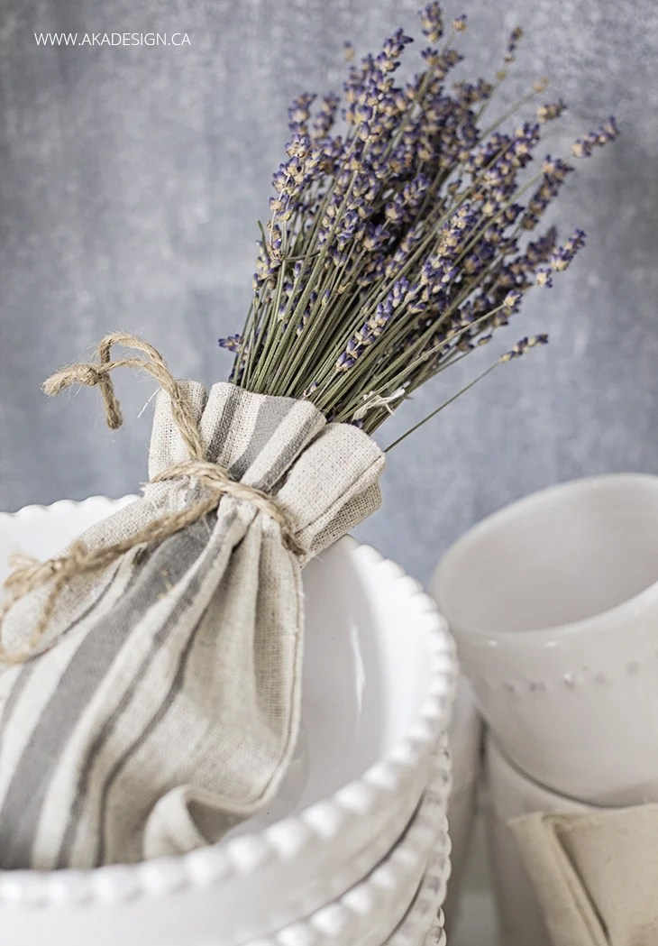 dried lavender in a grainsack striped canvas drawstring bag
