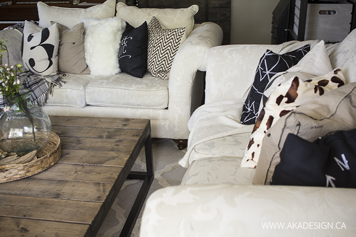 number, chevron, script, faux fur pillows on couch