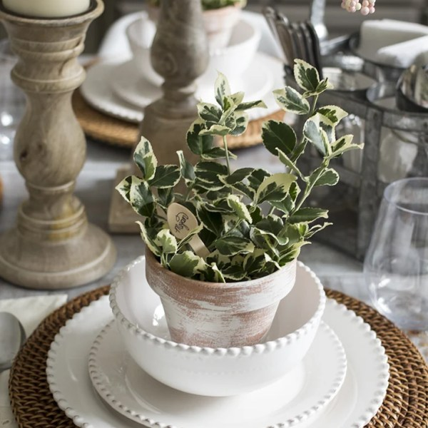 Clay Pots and Wooden Spoons as Place Cards