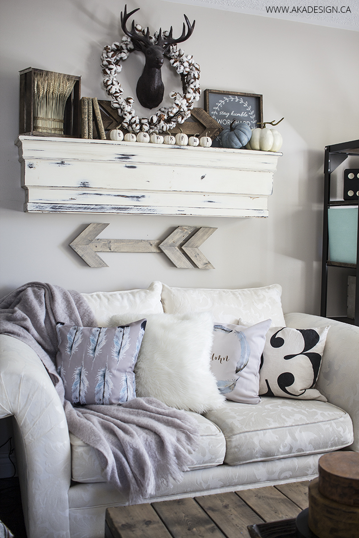 Home Made Lovely Mantel and Couch Fall 2015
