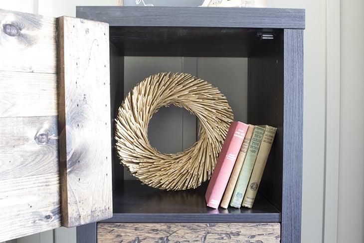 Inside of DIY Cube Shelf Ikea Hack Home Made Lovely