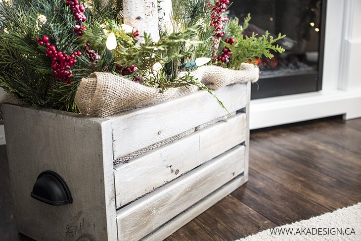 Christmas Crate with Greenery, Logs and Lights
