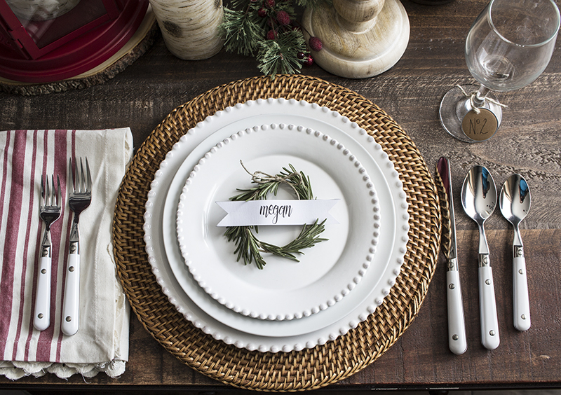 Home Made Lovely Rosemary Wreath Place Cards on Plate 3 BLOG PIC