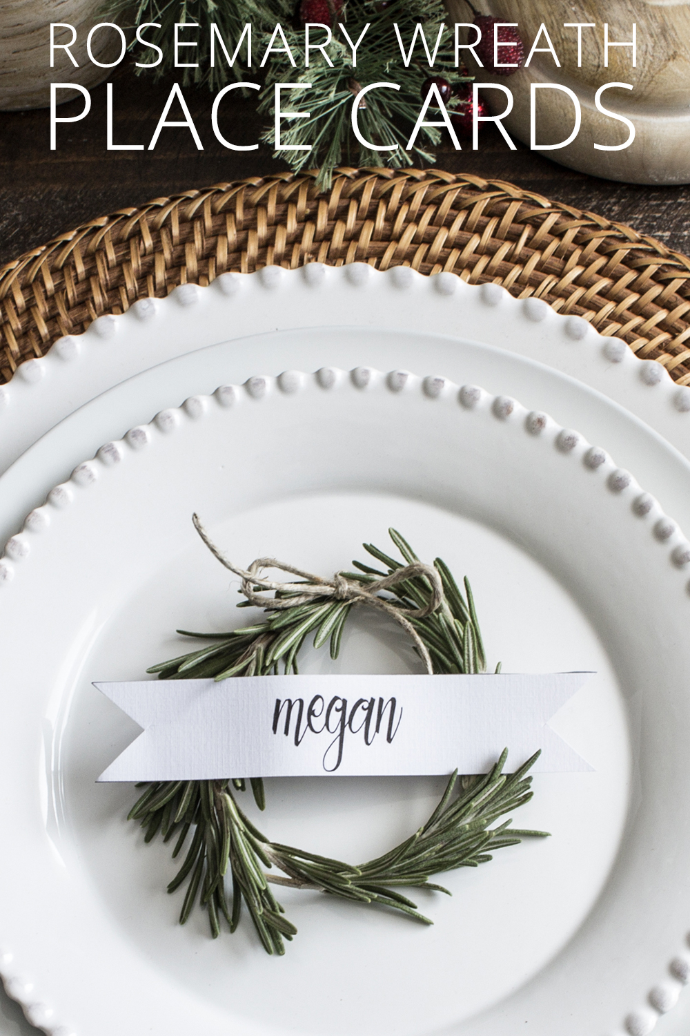 Use simple rosemary sprigs to mimic mini holiday greenery to make these simple rosemary wreath Christmas place cards for your Holiday table.