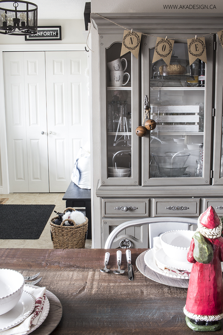grey dining room hutch