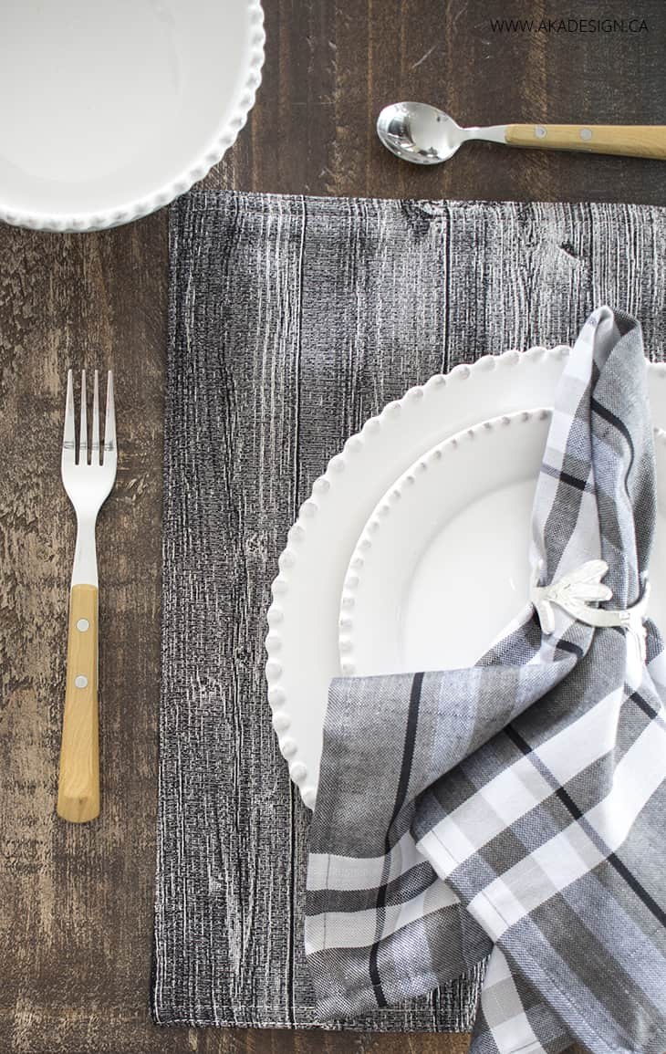 wood like tapestry place mat, chambray check napkin, silver vine napkin ring