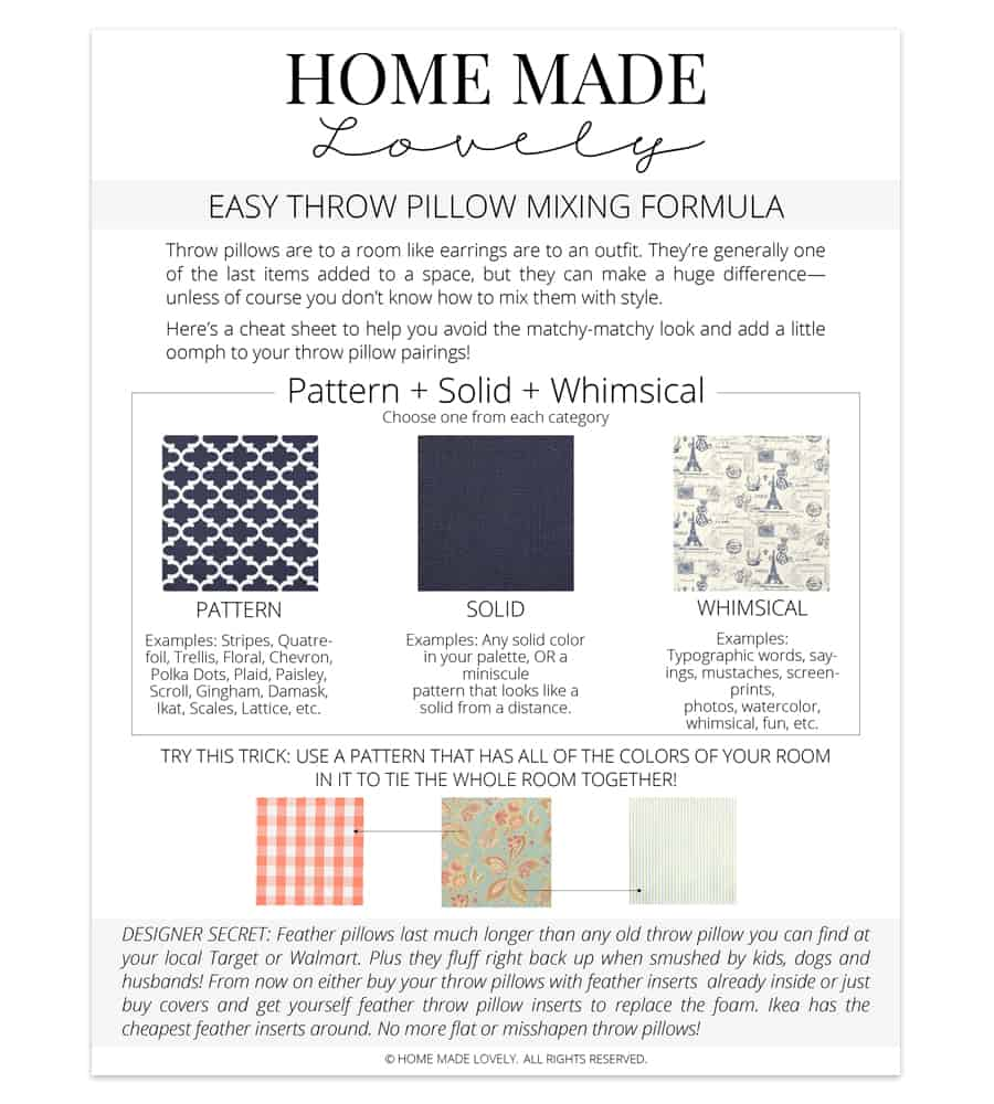Throw pillow and pattern mixing cheat sheet