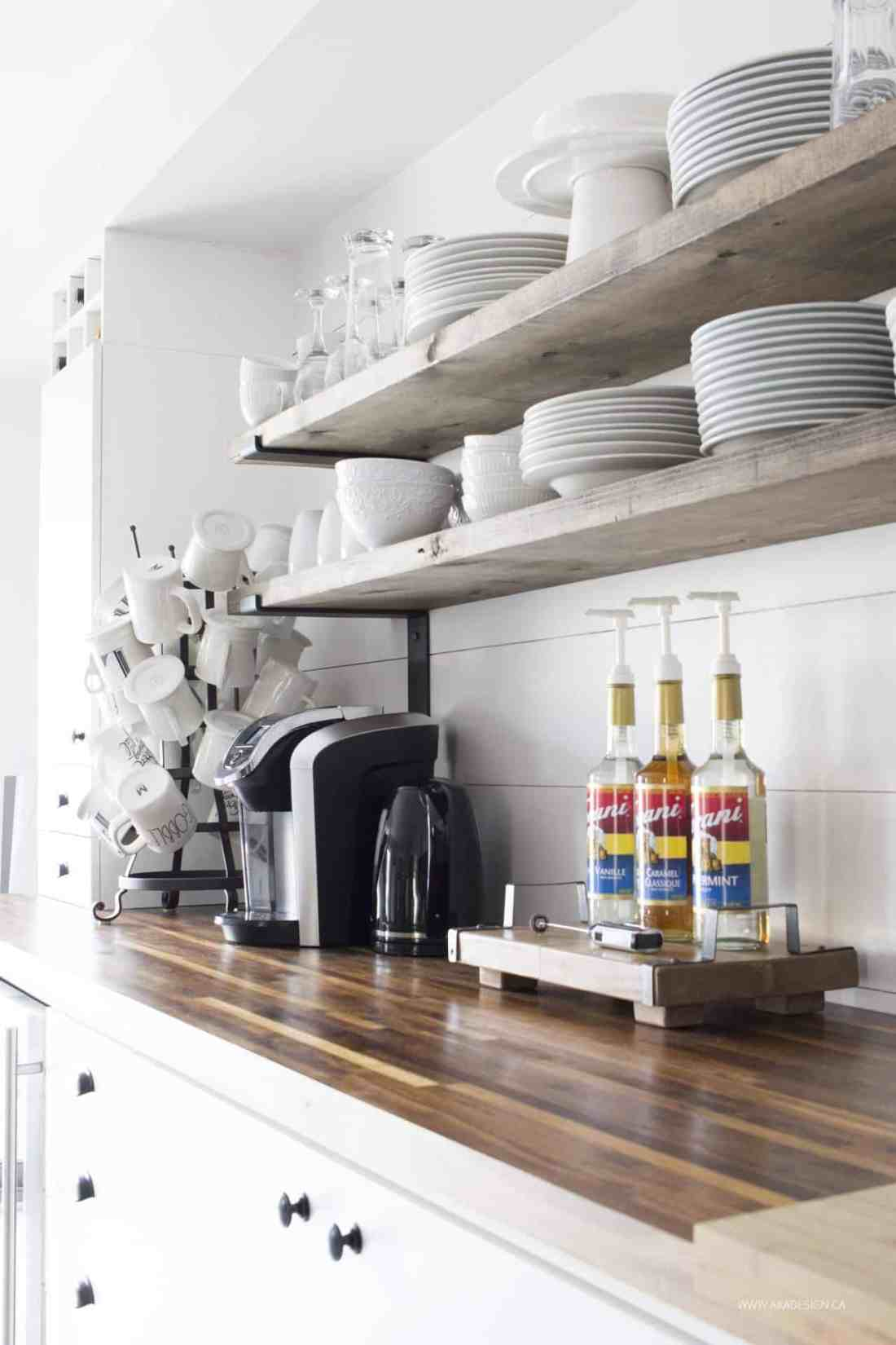 coffee bar | open shelves | mug tree | white dishes