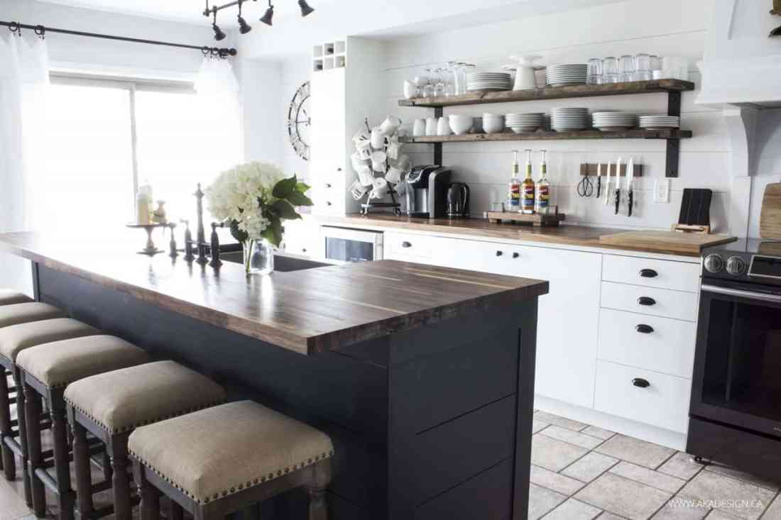 farmhouse style kitchen | open shelves | black island
