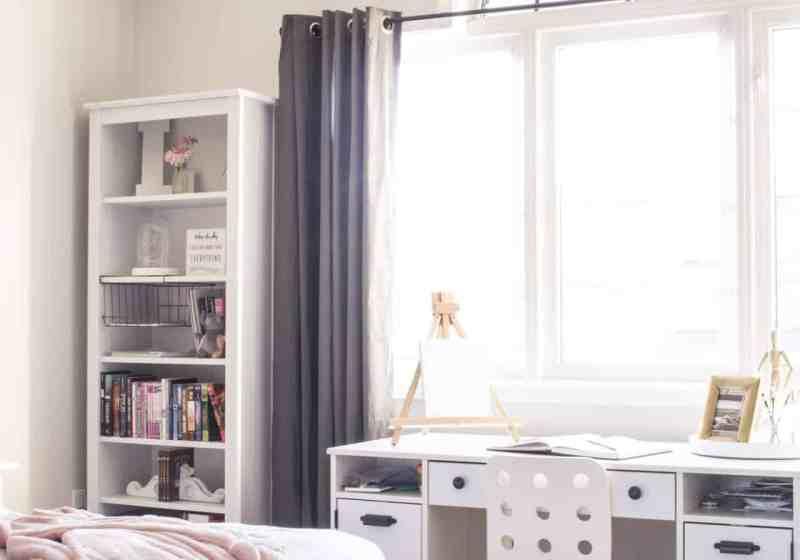 pink grey blush girl's room