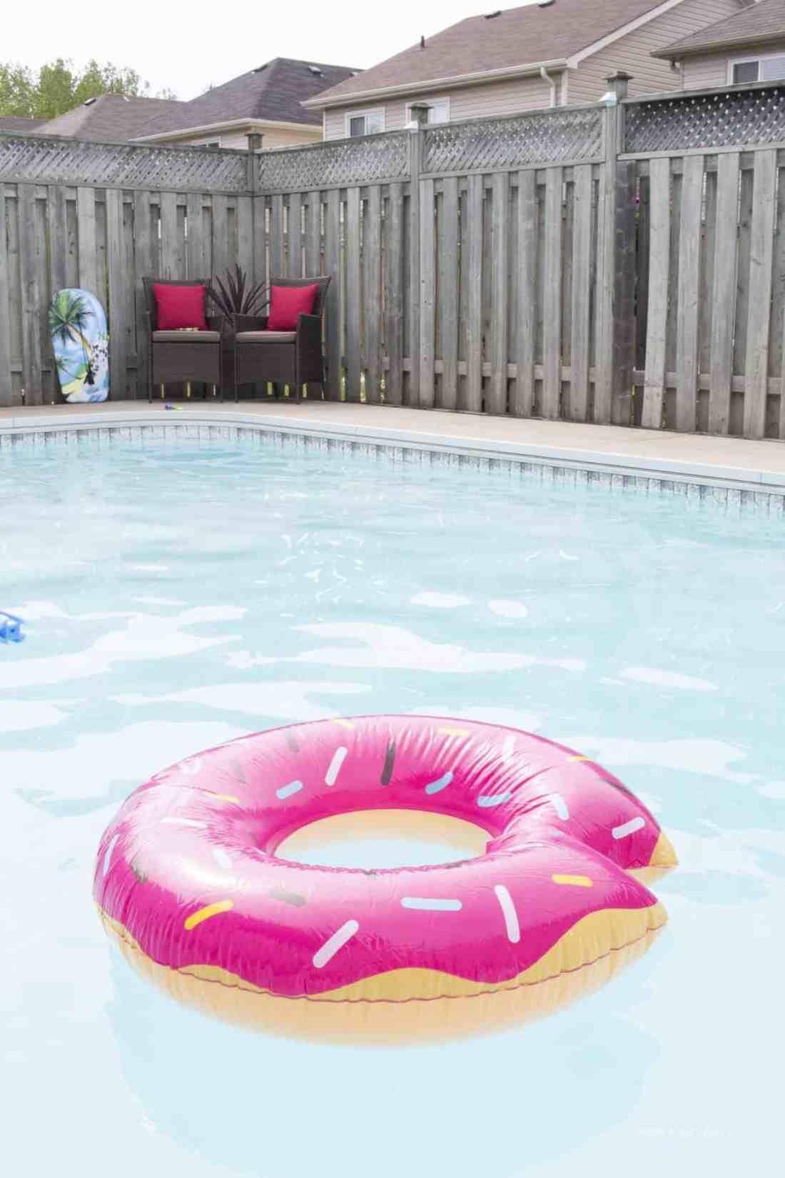 pink pool donut