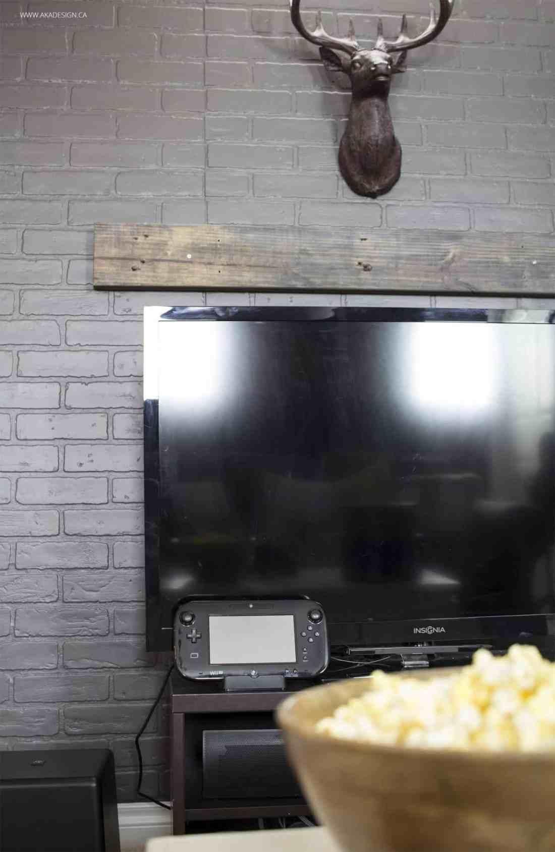 Home Made Lovely Basement TV Faux Mantel