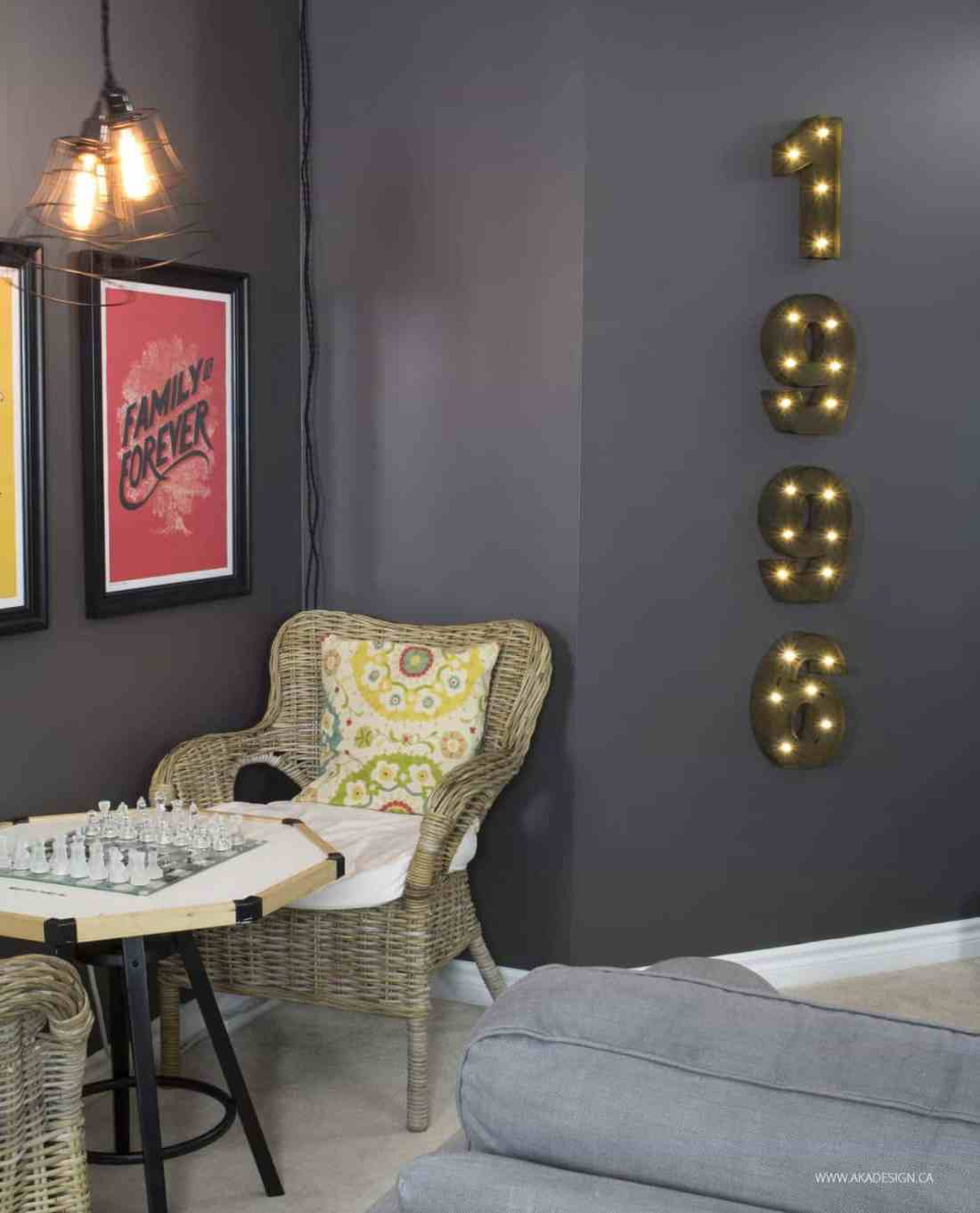 Home Made Lovely Family Room Marquee Numbers
