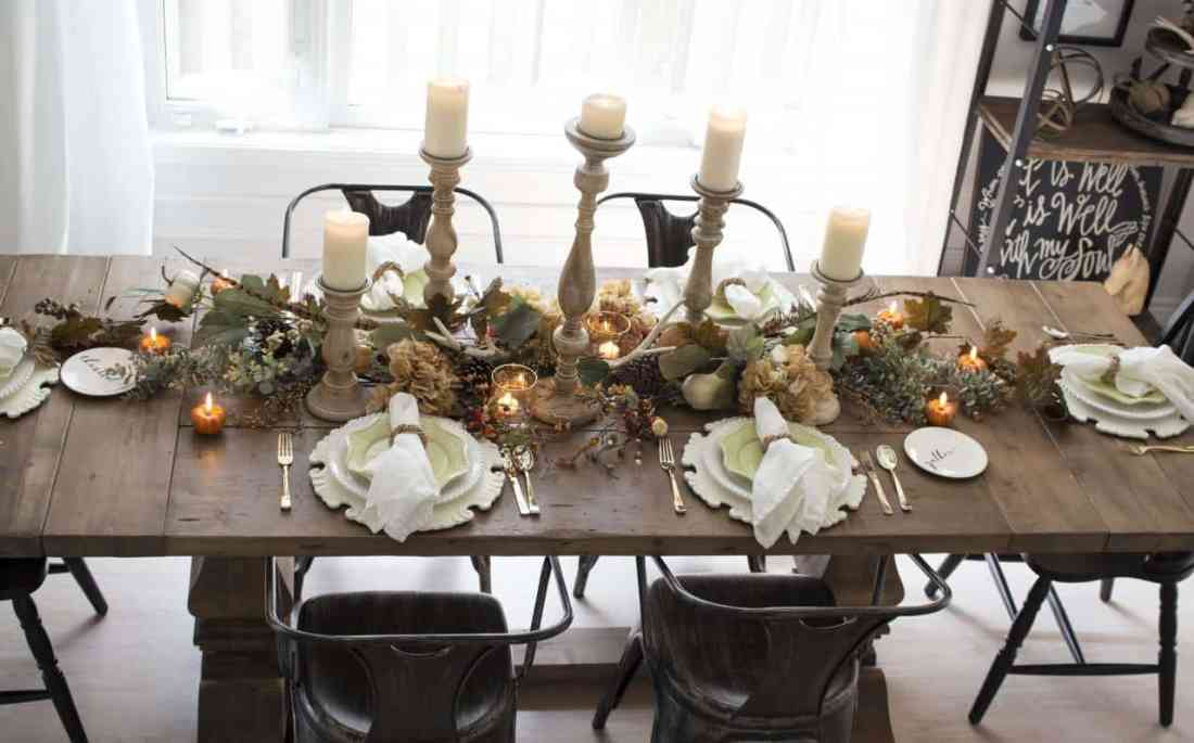neutral farmhouse fall table from above