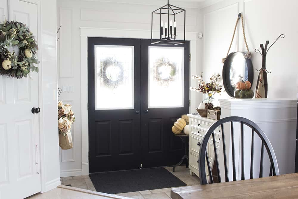 farmhouse fall entryway black doors
