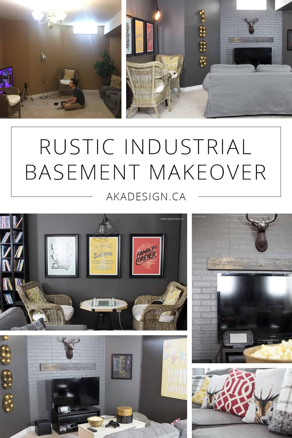 rustic industrial basement makeover pin