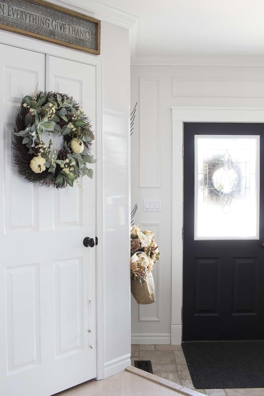 wreath on closet door