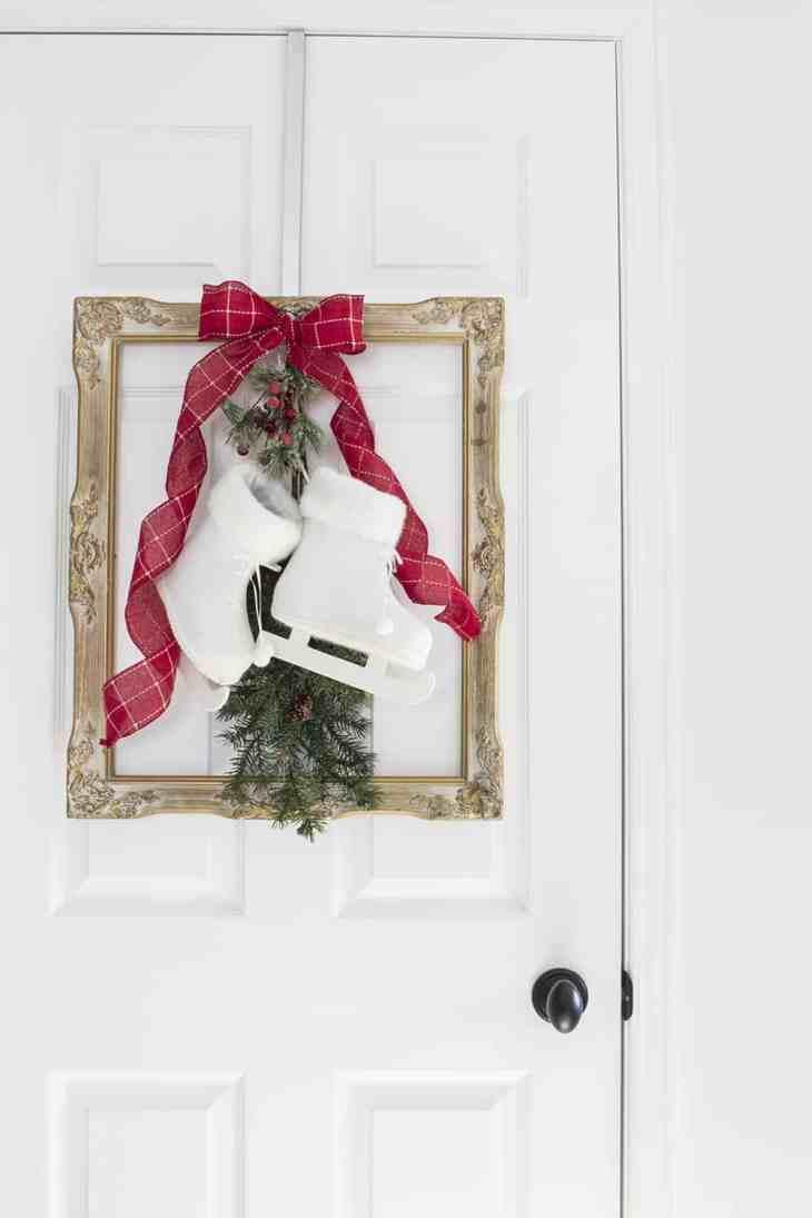French Farmhouse Christmas Decor Idea - Frame, Skates and Greenery 3