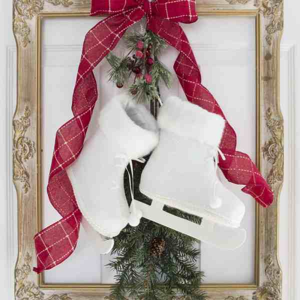 French Farmhouse Christmas Decor Idea - Frame, Skates and Greenery