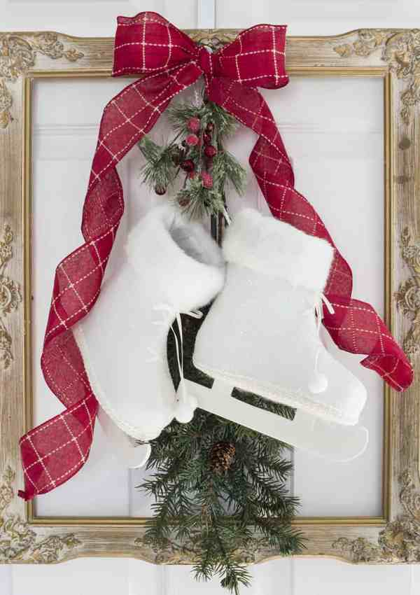 French Farmhouse Christmas Decor Idea – Frame, Skates and Greenery