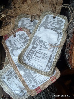 The Country Chic Cottage Burlap Mason Jar Christmas Ornaments