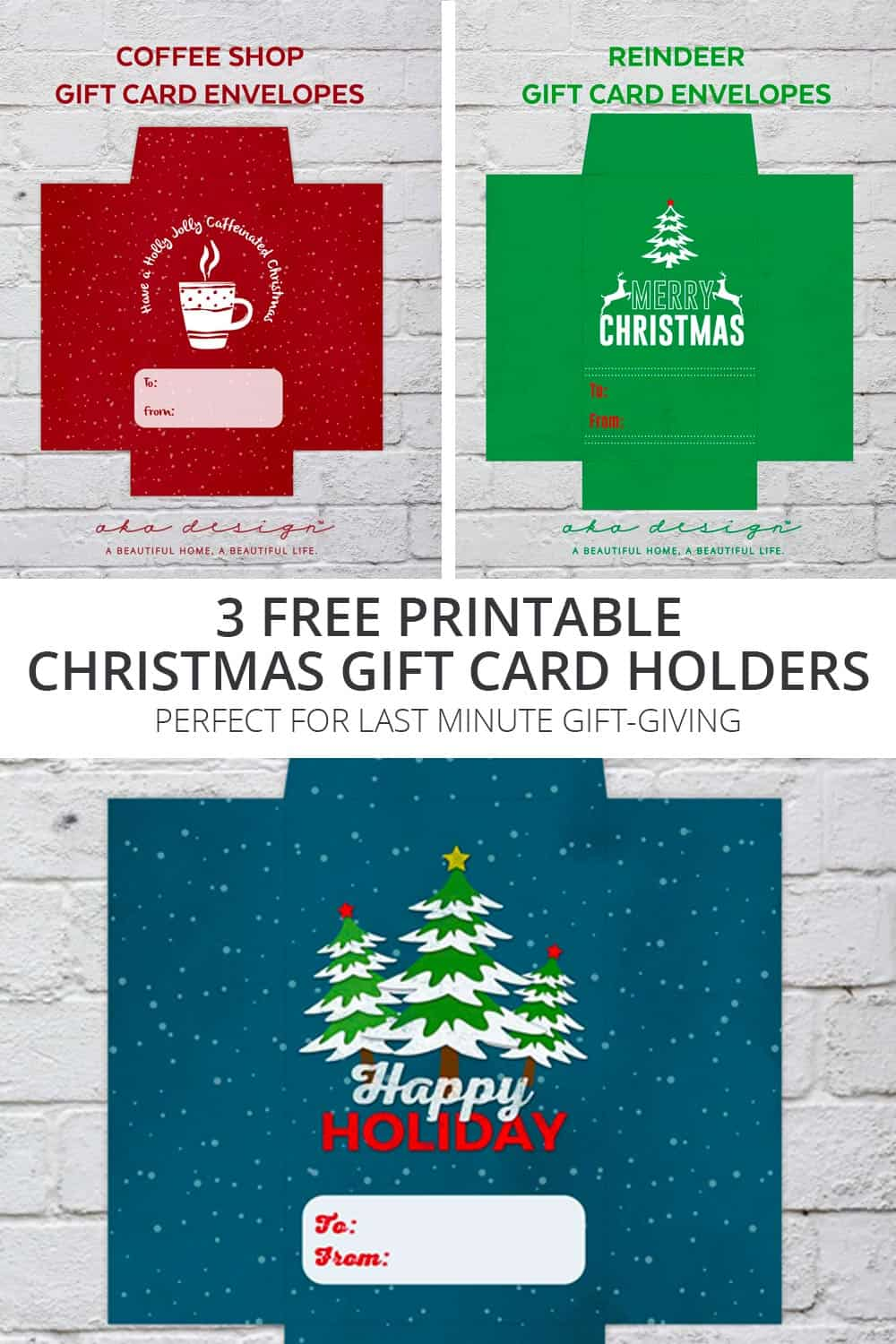photograph regarding Printable Gift Cards named 3 Free of charge Printable Xmas Reward Card Holders - For Past