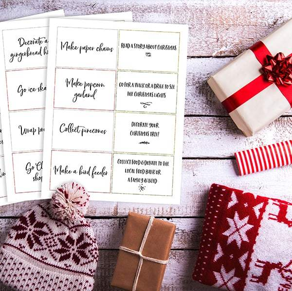 family advent calendar activity cards
