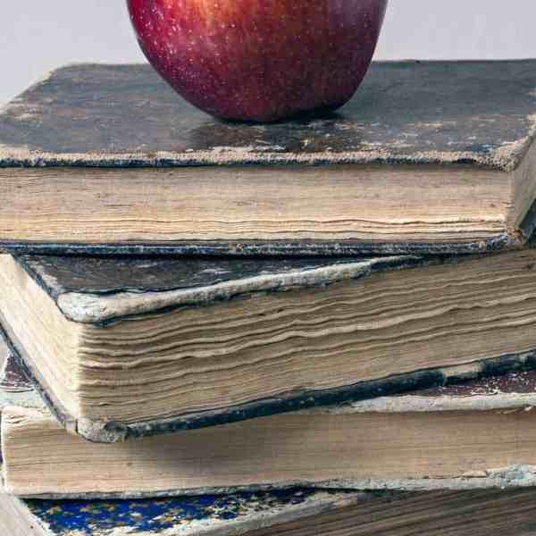 apple on old textbooks